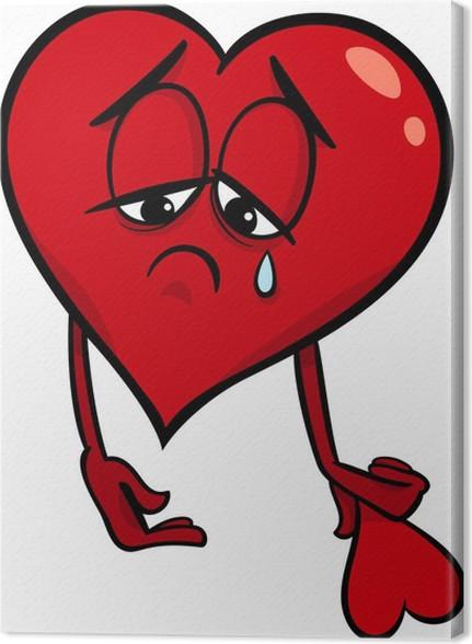 Cuadro en Lienzo Triste ilustración de dibujos animados corazón roto ...