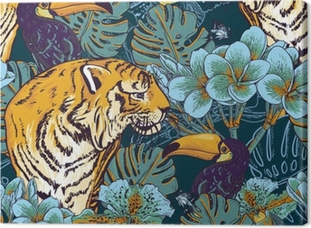 Cuadro en Lienzo Tropical fondo floral sin fisuras con Tiger