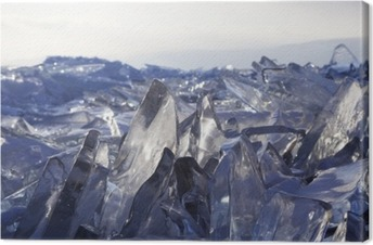 Cuadro en Lienzo Trozos de hielo brillan al sol. Lago Baikal, Rusia.