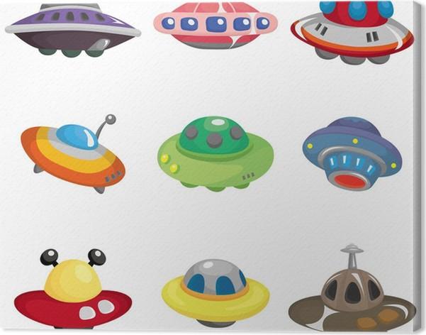 Cuadro en lienzo ufo nave espacial dibujos animados icon