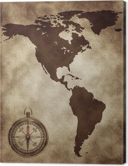 Cuadro en Lienzo Un mapa con una brújula de Norte y Sudamérica