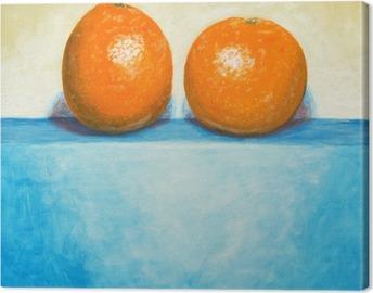 Cuadro en Lienzo Una pintura de dos naranjas