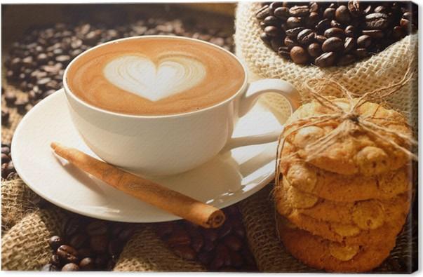 Cuadro en lienzo una taza de caf con leche con los granos for Capacidad taza cafe con leche