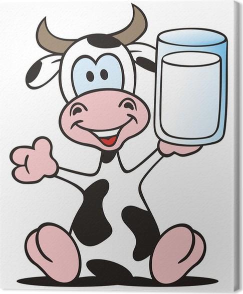 Cuadro en Lienzo Vaca sentado con un vaso de leche • Pixers ...