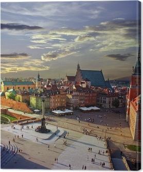 Cuadro en Lienzo Varsovia Plaza del Castillo y la puesta del sol