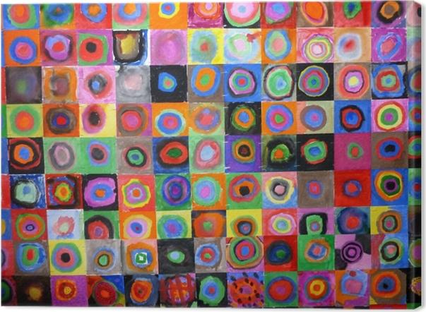 Cuadro en Lienzo Vasili Kandinski - Los estudios de color, cuadrado con los círculos concéntricos - Reproducciones