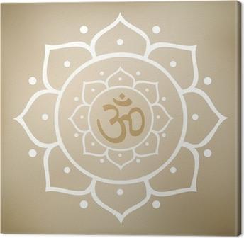 Cuadro en Lienzo Vector de la mandala de Lotus con el símbolo de OM