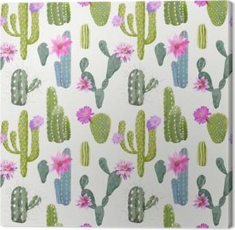 Cuadro en Lienzo Vector Fondo Cactus. Patrón sin fisuras. Planta exótica. Trópico
