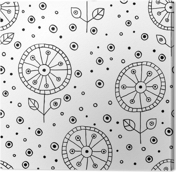 Cuadro en Lienzo Vector inconsútil dibujado a mano doodle estampado ...