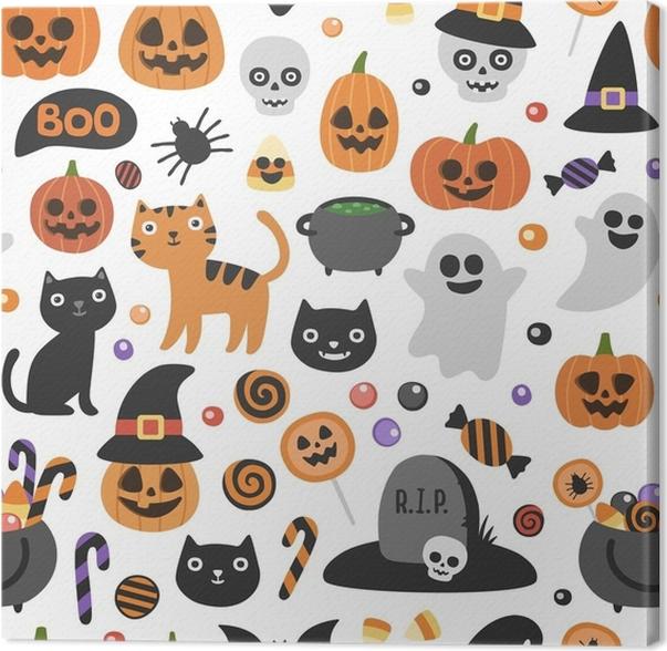 Cuadro en Lienzo Vector lindo patrón transparente de halloween ...