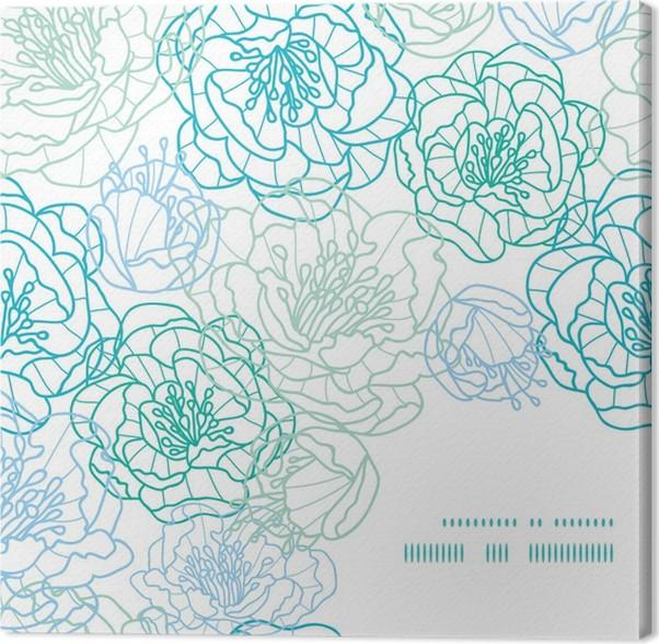 Cuadro en Lienzo Vector línea azul Modelo de la esquina flores del ...