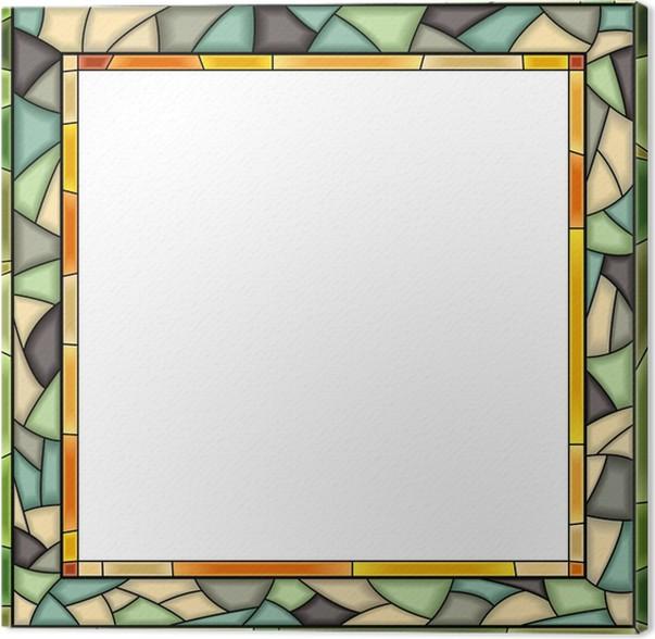 Cuadro en Lienzo Vector marco de la ventana de cristal de colores ...