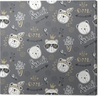 Papel Pintado Vector moda oso de patrones sin fisuras. Ilustración linda  del peluche en el estilo de dibujo. Fondo de animales de dibujos animados.  doodle ... 4335273130d3a