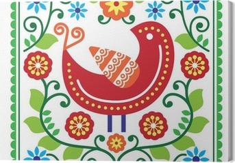 Cuadro en Lienzo Vector patrón de arte popular con aves y flores