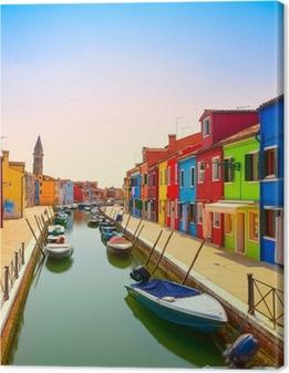 Cuadro en Lienzo Venecia señal, canal de la isla de Burano, casas y barcos de colores,