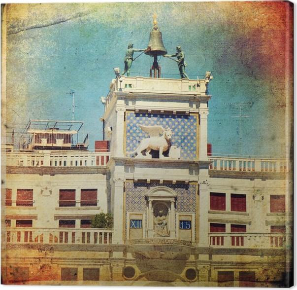 Cuadro en Lienzo Venecia, Torre del reloj en la plaza de San Marcos ...
