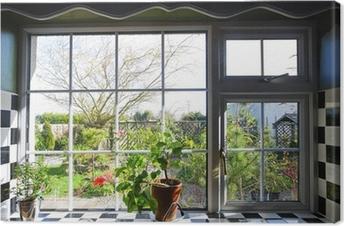 Cuadro en Lienzo Ventana de la cocina con la vista en el jardín