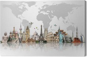 Cuadro en Lienzo Viaja por el mundo concepto monumentos