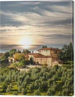 Cuadro en Lienzo Villa de lujo en la Toscana, famoso viñedo en Italia