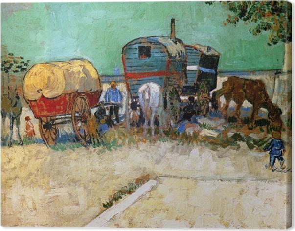 Cuadro en Lienzo Vincent van Gogh - Campo gitano, carro tirado por caballos - Reproductions