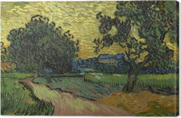 Cuadro en Lienzo Vincent van Gogh - Paisaje con el castillo de Auvers en la puesta - Reproductions