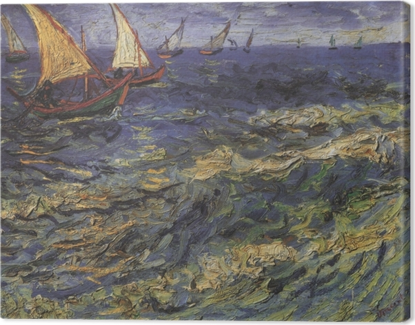 Cuadro en Lienzo Vincent van Gogh - Paisaje marino con un barco de vela - Reproductions