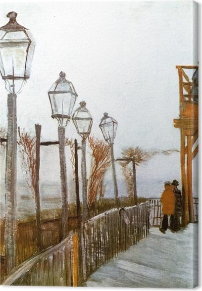 Cuadro en Lienzo Vincent van Gogh - Terraza y cubierta de observación en el Moulin de Blute-Fin, Montmartre - Reproductions