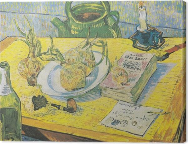 Cuadro en Lienzo Vincent van Gogh - Todavía vida con una caldera, un tubo y cebollas - Reproductions