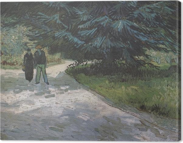 Cuadro en Lienzo Vincent van Gogh - Una pareja en el parque con los abetos azules - Reproductions