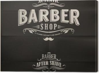 Cuadro en Lienzo Vintage Barber Shop Emblemas