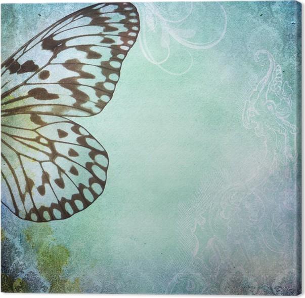 Cuadro en Lienzo Vintage fondo elegante lamentable con la mariposa ...