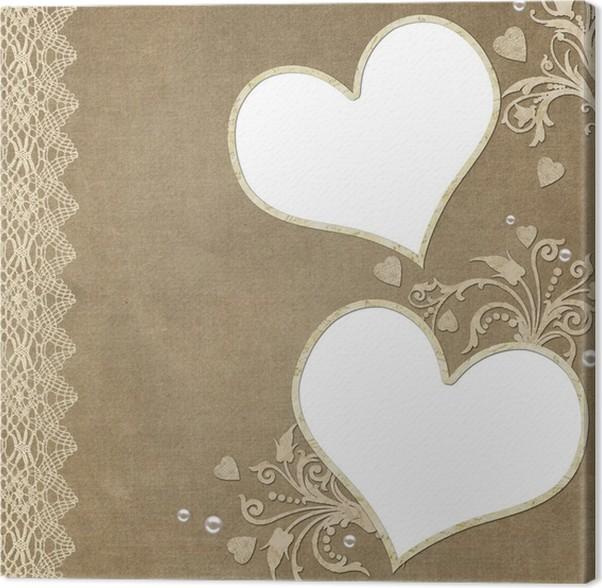 Cuadro en Lienzo Vintage marco de corazón elegante con encaje y ...