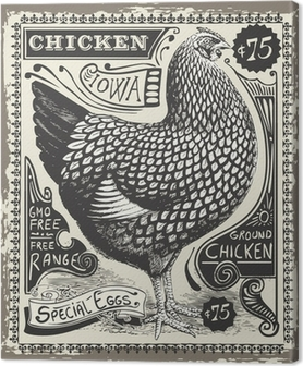 Cuadro en Lienzo Vintage Poultry and Eggs Advertising Page