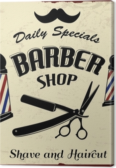 Cuadro en Lienzo Vintage Styled Barber Shop