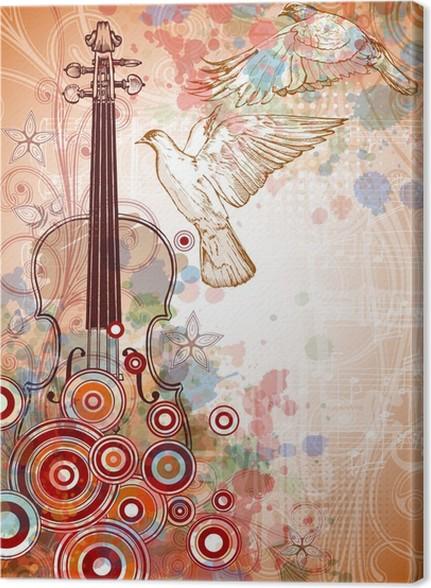 Cuadro en Lienzo Violín, hojas de música, palomas volando en el ...