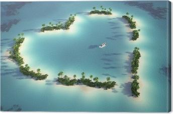 Cuadro en Lienzo Vista aérea de la isla en forma de corazón