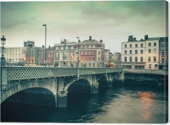 Cuadro en Lienzo Vista de estilo vintage de Dublín Irlanda Grattan puente