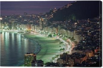 Cuadro en Lienzo Vista nocturna de la playa de Copacabana. Río de Janeiro