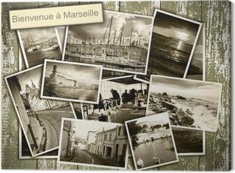 Cuadro en Lienzo Vistas collage de Marsella, fotos en blanco y negro sobre un b madera