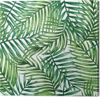 Cuadro en Lienzo Watercolor tropical palm leaves seamless pattern. Vector illustration.