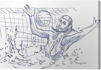 Cuadro en Lienzo Waterpolo, portero - dibujo a mano