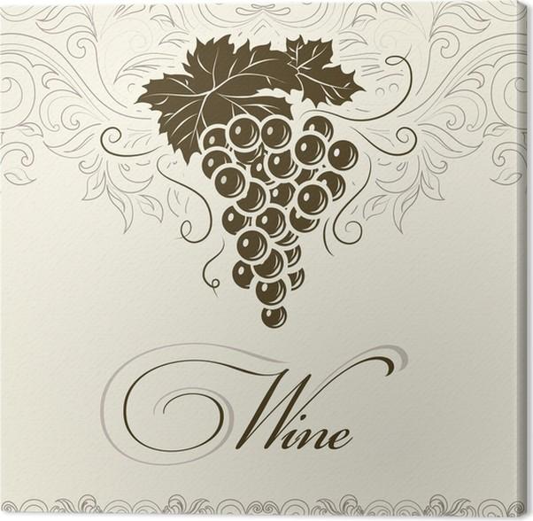 Cuadro en Lienzo Wine. Racimo de uvas para las etiquetas de vino ...