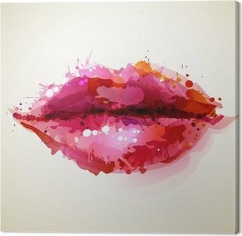 Cuadro en Lienzo Womans labios hermosos formados por manchas abstractas