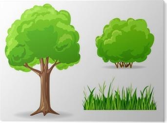 Vinilo Pixerstick Conjunto de plantas verdes de dibujos animados ...