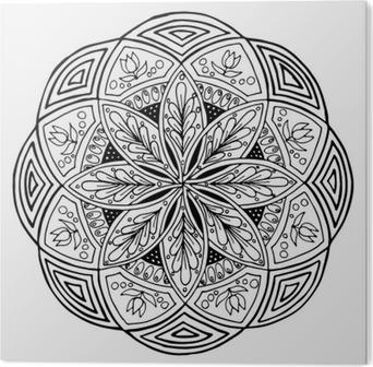 Vinilo Pixerstick Dibujo A Mano De Mandala Ronda Adorno Floral
