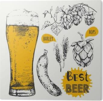 Cuadro en Metacrilato Ilustración del vector de cerveza y salchichas. menú de pub.