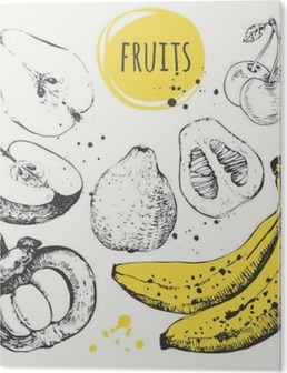 Cuadro en Metacrilato Plátano, mangostán, manzana, bergamota. Conjunto drenado mano con comida fresca.