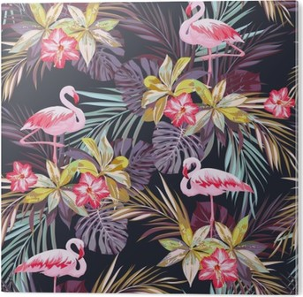 Cuadro en PVC Modelo inconsútil del verano tropical con flamenco aves y plantas exóticas