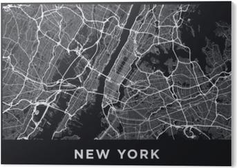 Cuadro en PVC Oscuro mapa de Nueva York. Mapa de carreteras de Nueva York (Estados Unidos). Ilustración blanco y negro (oscuro) de las calles de Nueva York. red de transporte de la gran manzana. formato de póster imprimible (álbum).
