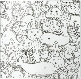 Bajo El Agua De Patrones Sin Fisuras Para Colorear Libro Fondo Blanco Y Negro Lindo De Los Animales De Mar Ilustración Vectorial